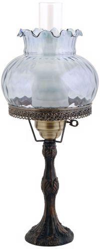 Rhombus Optic Blue Shade Brass Hurricane Table Lamp - # ...