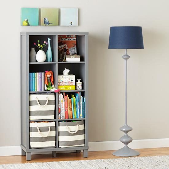 Eight Cube Tall Bookcase Grey The Land Of Nod