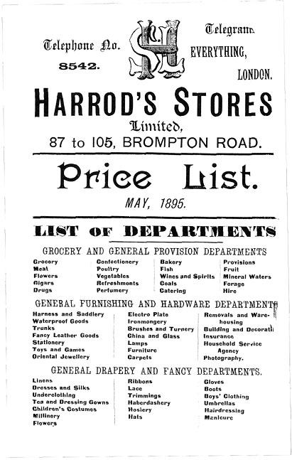 History Victorian shopping  Harrod\u0027s catalogue 1895 Price list