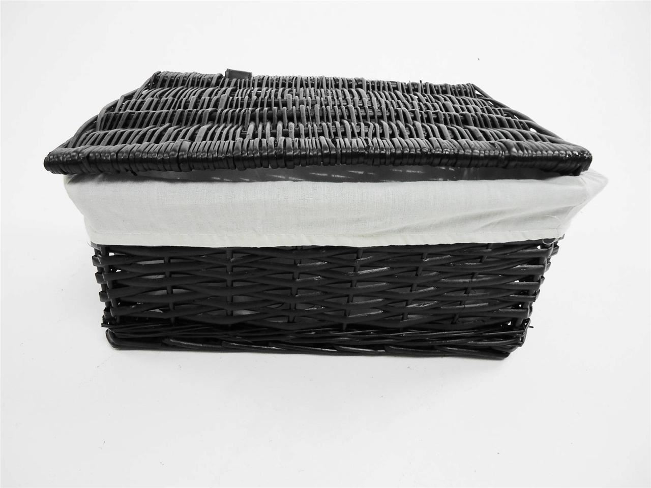 Black Wicker Hamper Black White Grey Lidded Wicker Storage Toy Box Empty Xmas