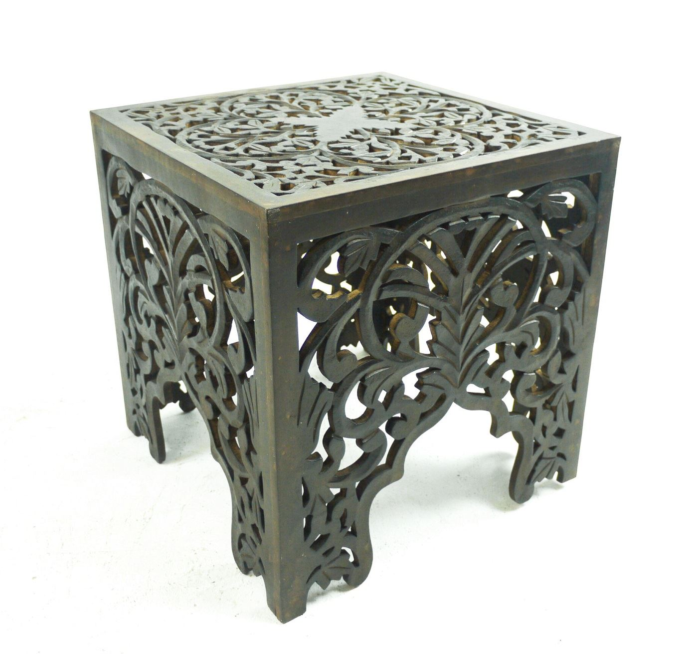 White Wooden End Tables Beautiful Brown White Square Hand Carved Indian Wooden
