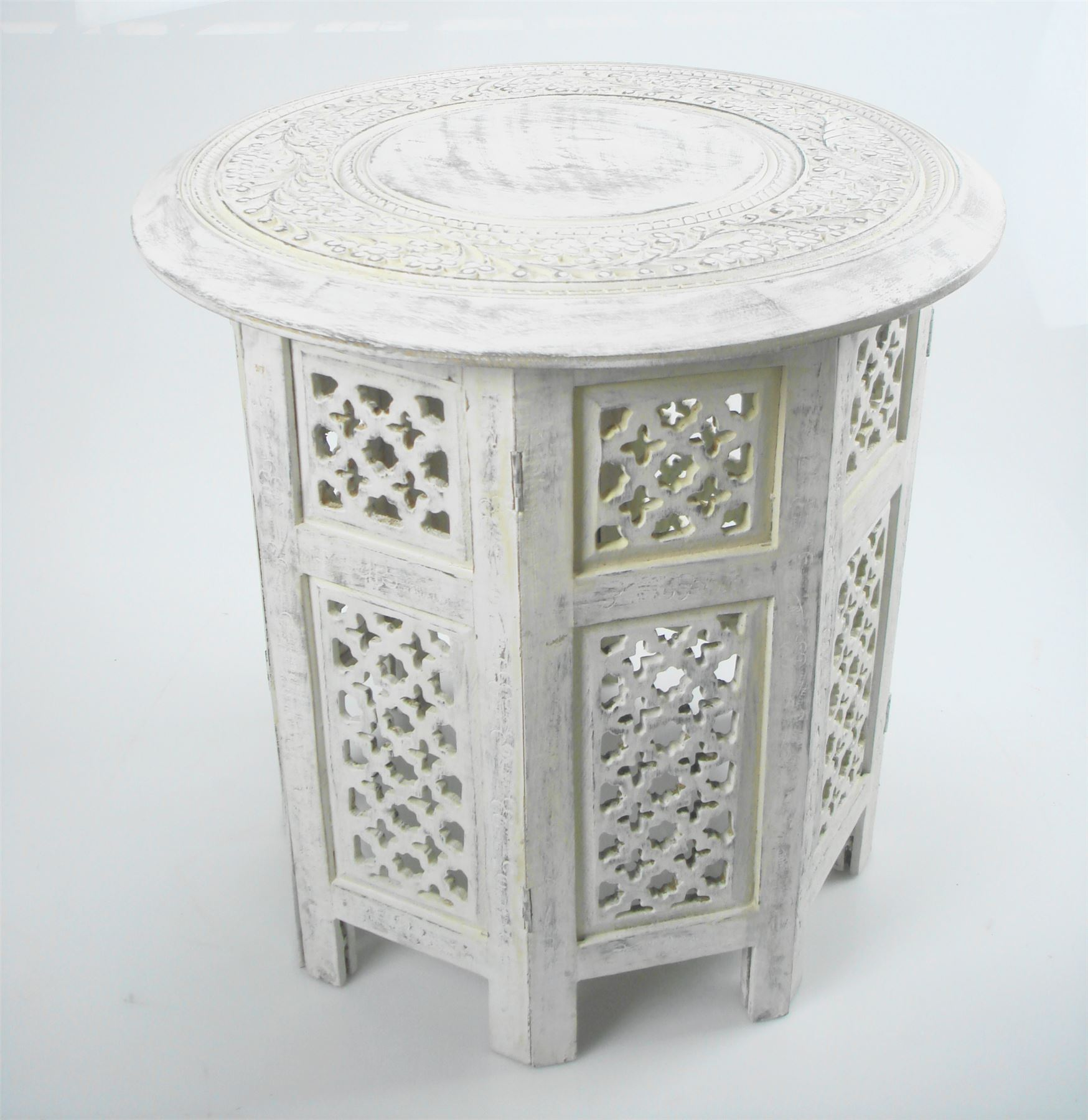 White Wooden End Tables Beautiful Round Brown White Hand Carved Indian Shesham