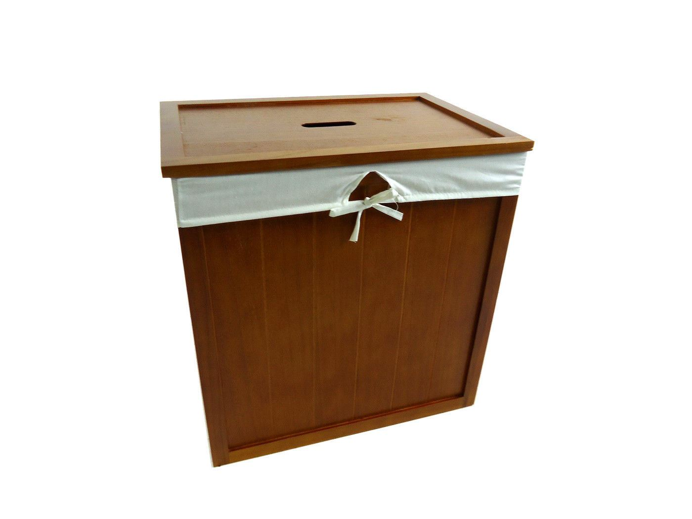 White Laundry Hamper With Lid Wooden Brown White Kids Playroom Toy Box Chest Bathroom