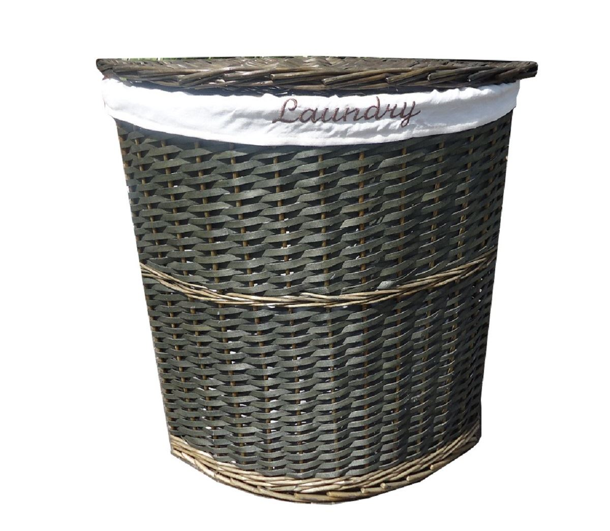 Corner Laundry Wicker Corner Laundry Basket With Lid 43 Linning Bathroom