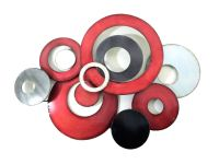 New - Metal Wall Art Decor Sculpture - Red Grey Linked ...