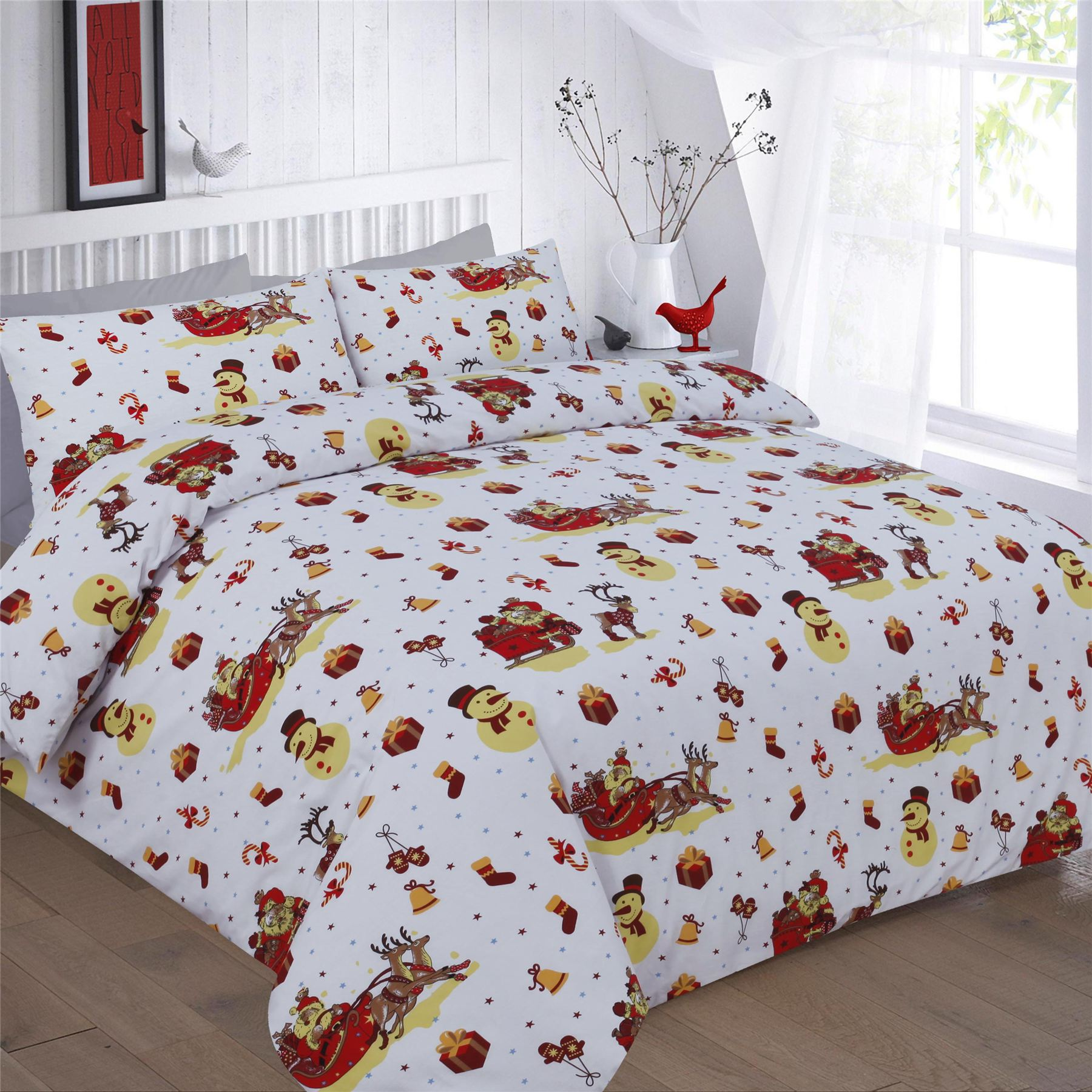 Double Doona Covers Xmas Duvet Cover With Pillow Case Novelty Reindeer