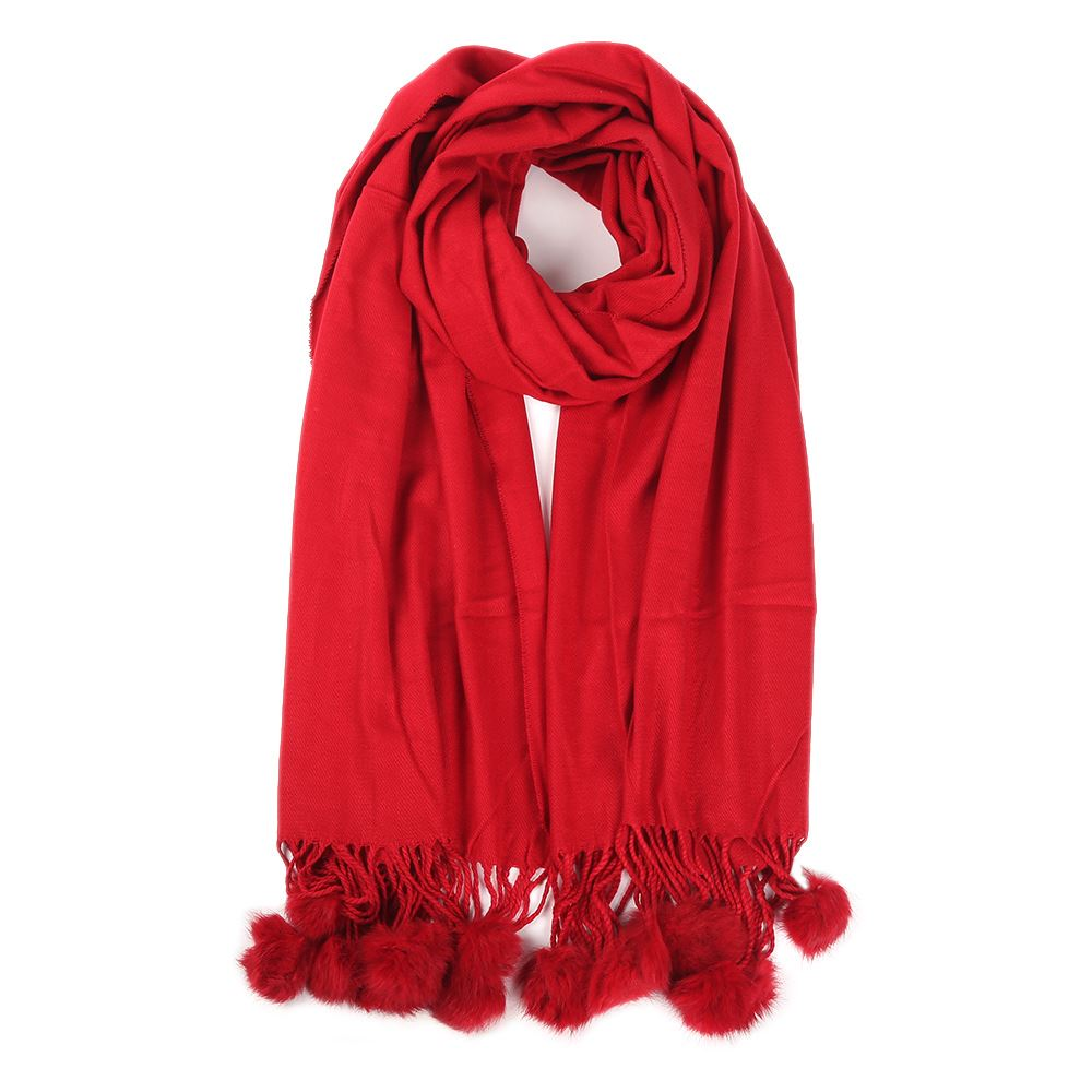 Womens Ladies Winter Real Rabbit Fur Pompom Plain Scarf