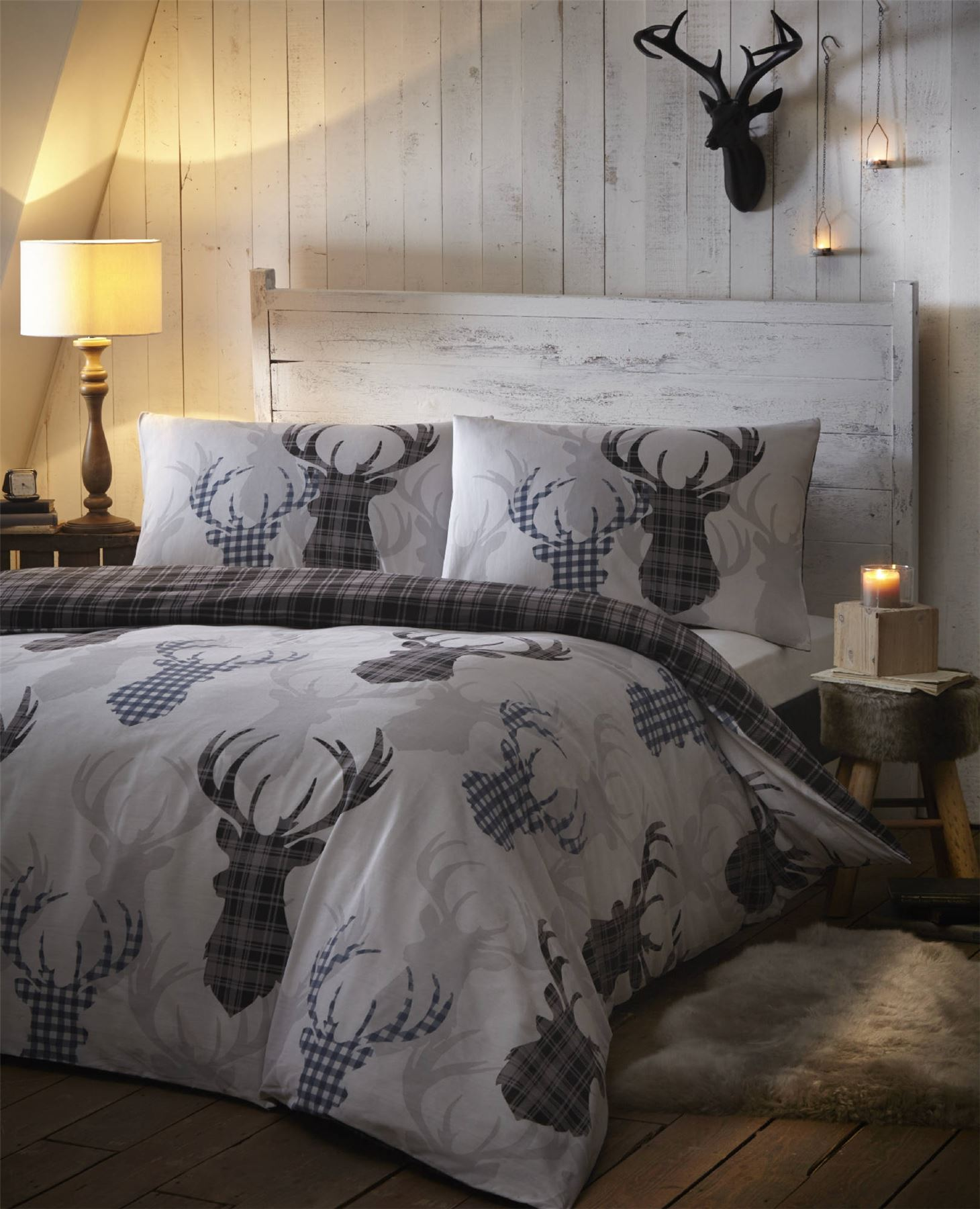 King Queen Bettwäsche Stag Deer Winter Christmas Duvet Quilt Cover Bedding Set