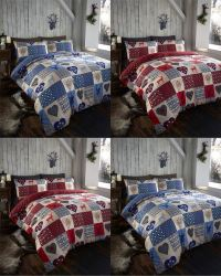 Rustic Stag Patchwork Reversible Duvet Quilt Cover Bedding ...