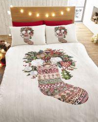 Winter Stocking Christmas Duvet Quilt Cover Bedding Set   eBay