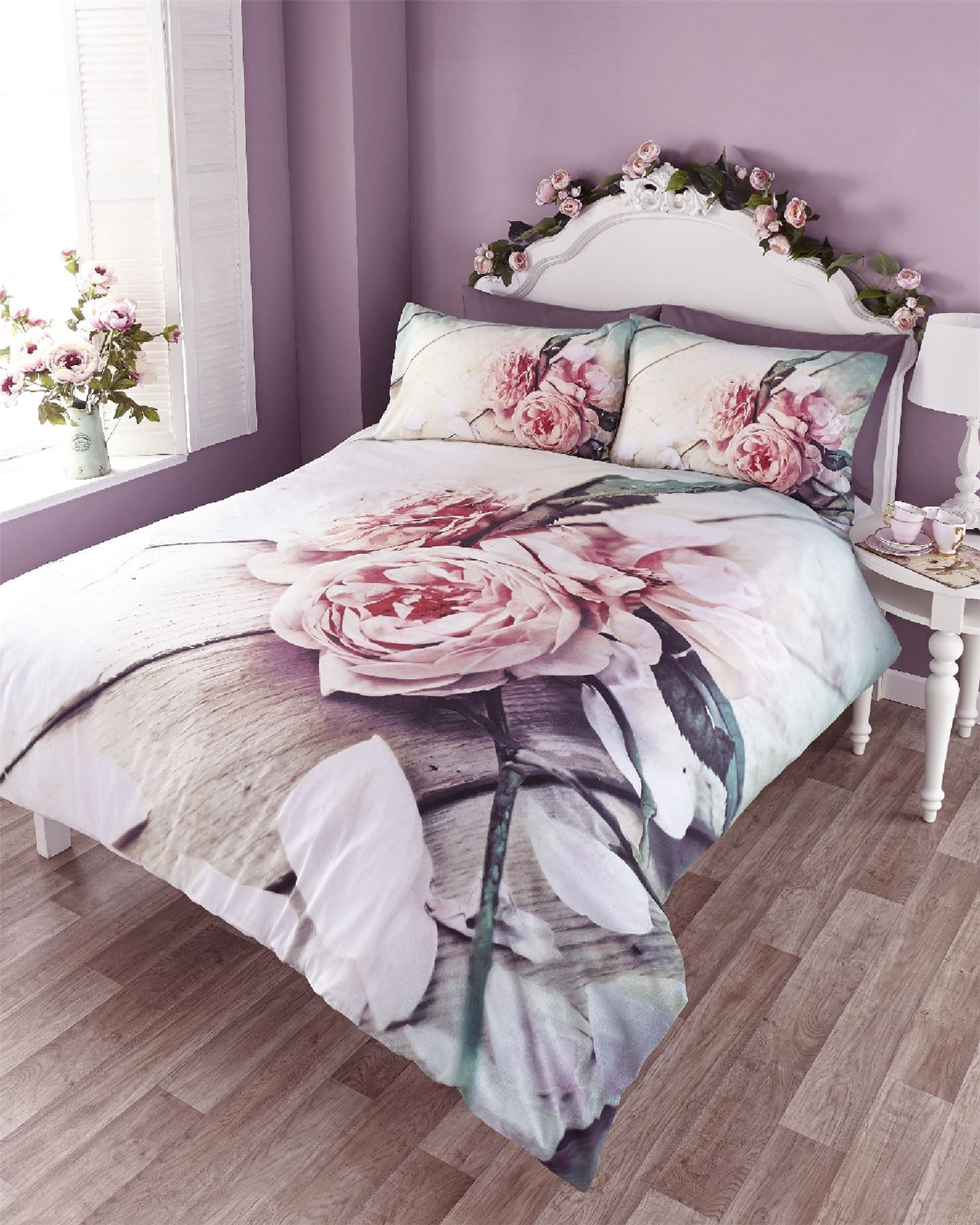 Vintage Linen Quilt Cover Vintage Rose Photo Print Duvet Quilt Cover Bedding Set Ebay