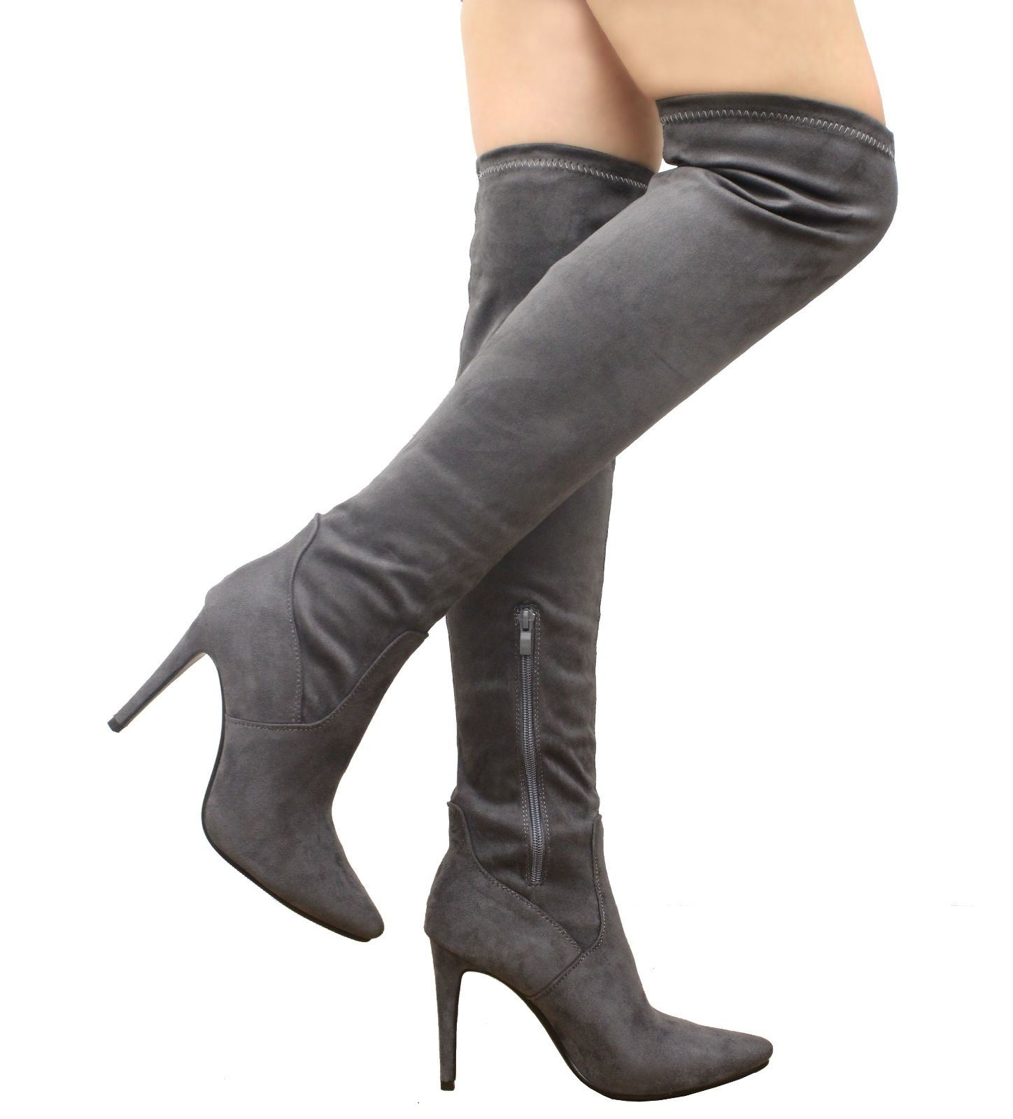 New Womens Over The Knee Thigh High Stiletto Heel Faux