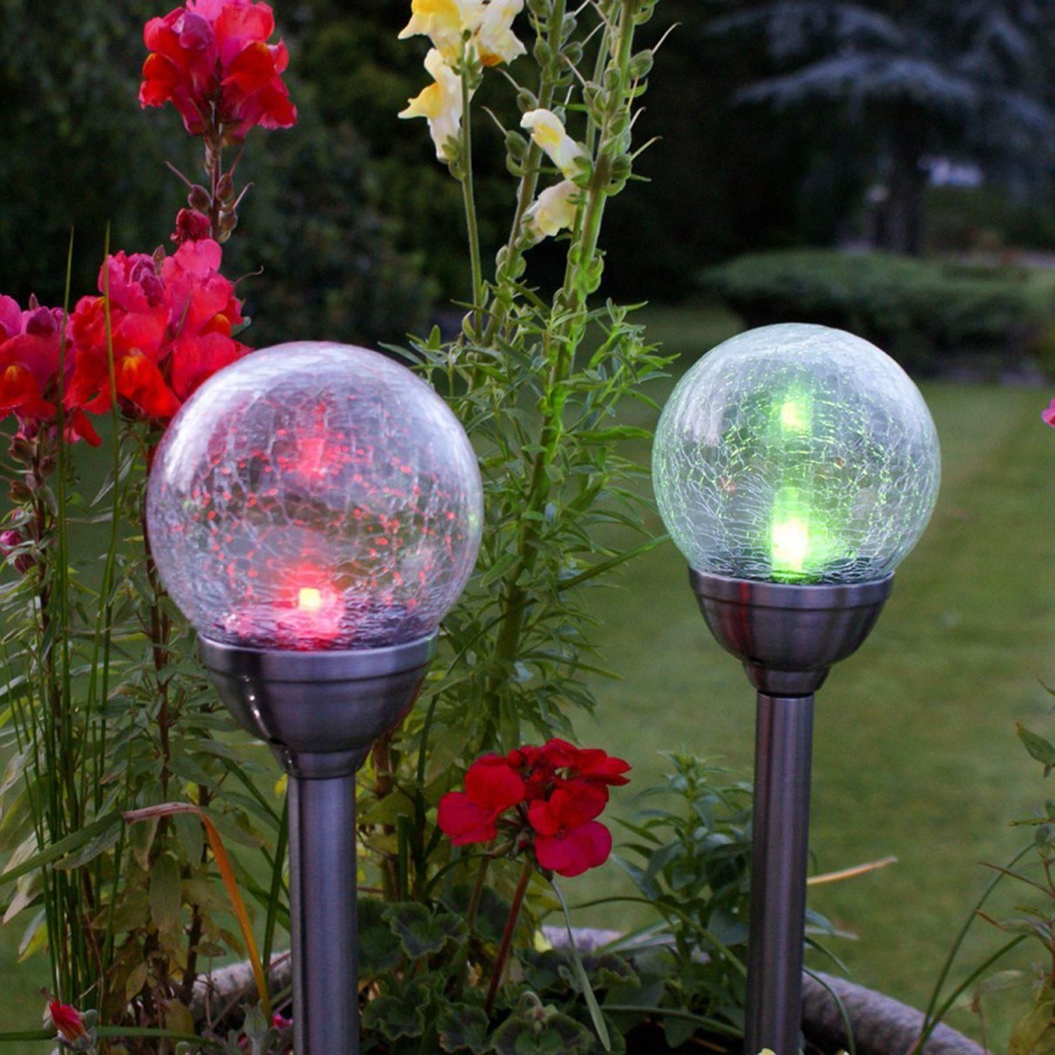 Solar Powered Garden Lights Solar Powered Stainless Steel Colour Changing Led Glass