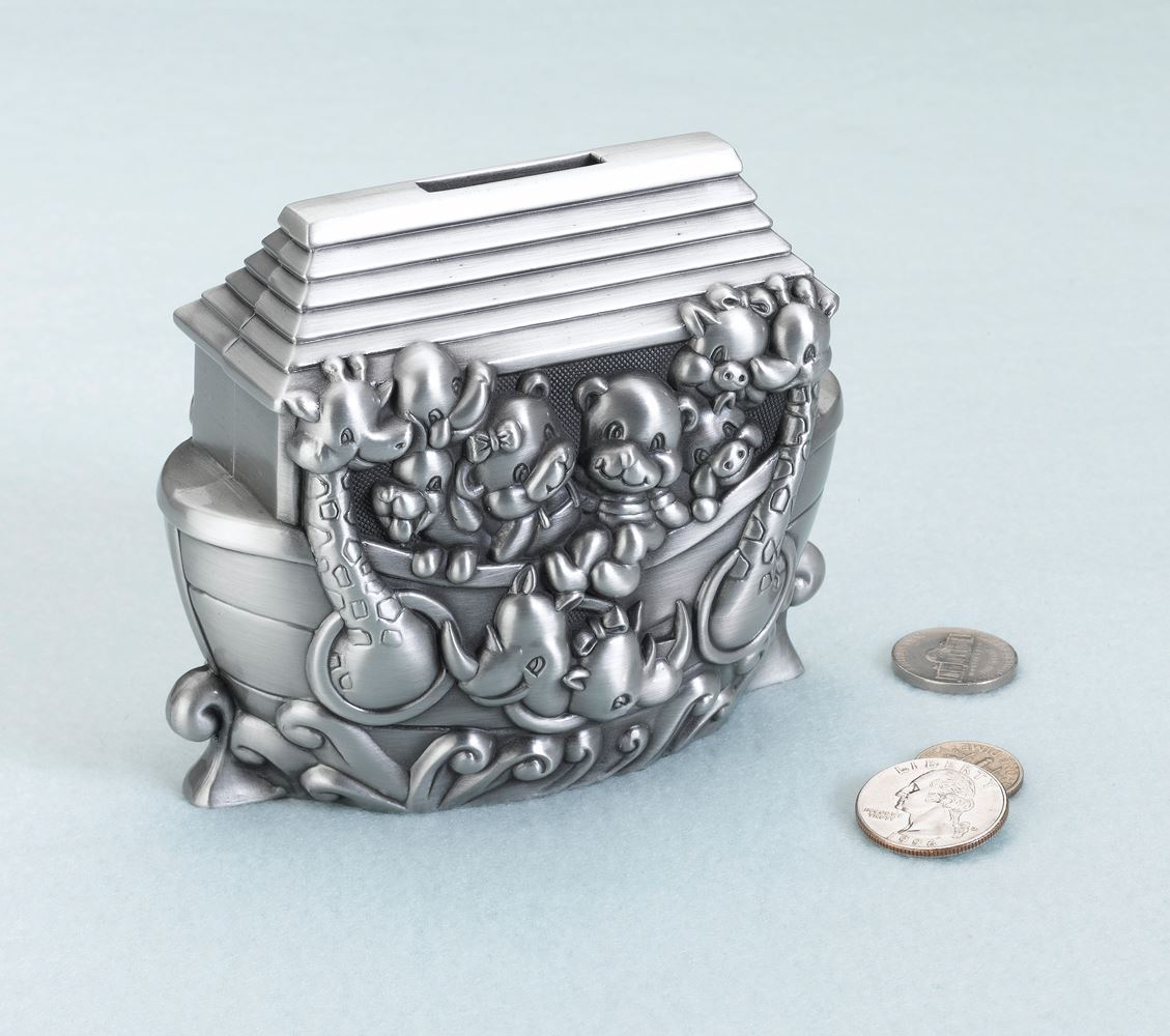Silver Piggy Bank For Baby Silver Plated Noah 39s Ark Pewter Piggy Bank Money Box Bank