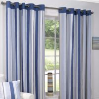 Padstow Blue Vertical Stripe Ready Made, Eyelet Top, Fully ...