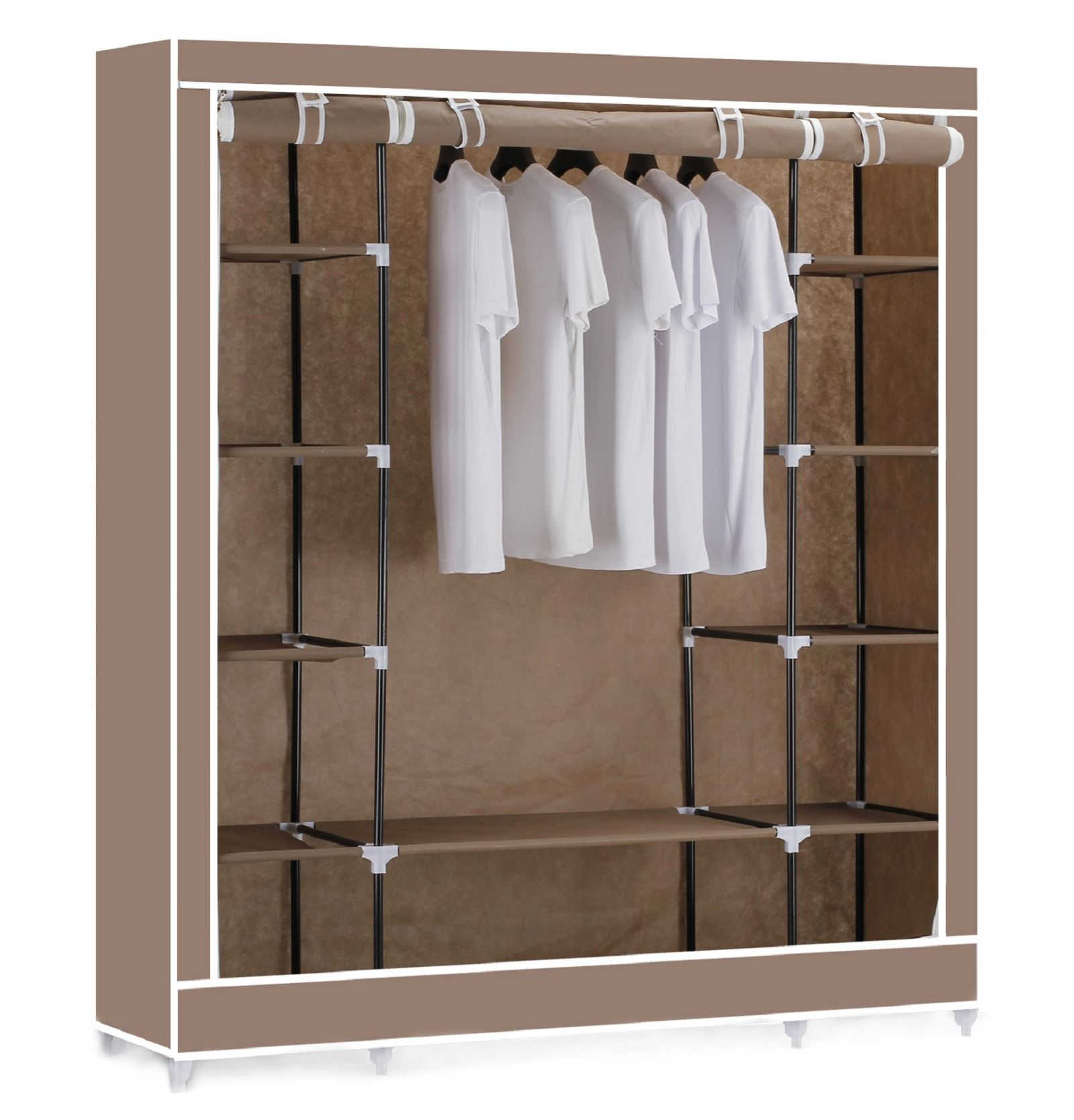Wardrobe Storage Shelves Triple Canvas Clothes Wardrobe Cupboard Hanging Rail With