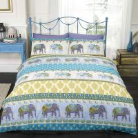 JAIPUR ELEPHANTS SINGLE DUVET COVER SET - BLUE - BEDDING ...
