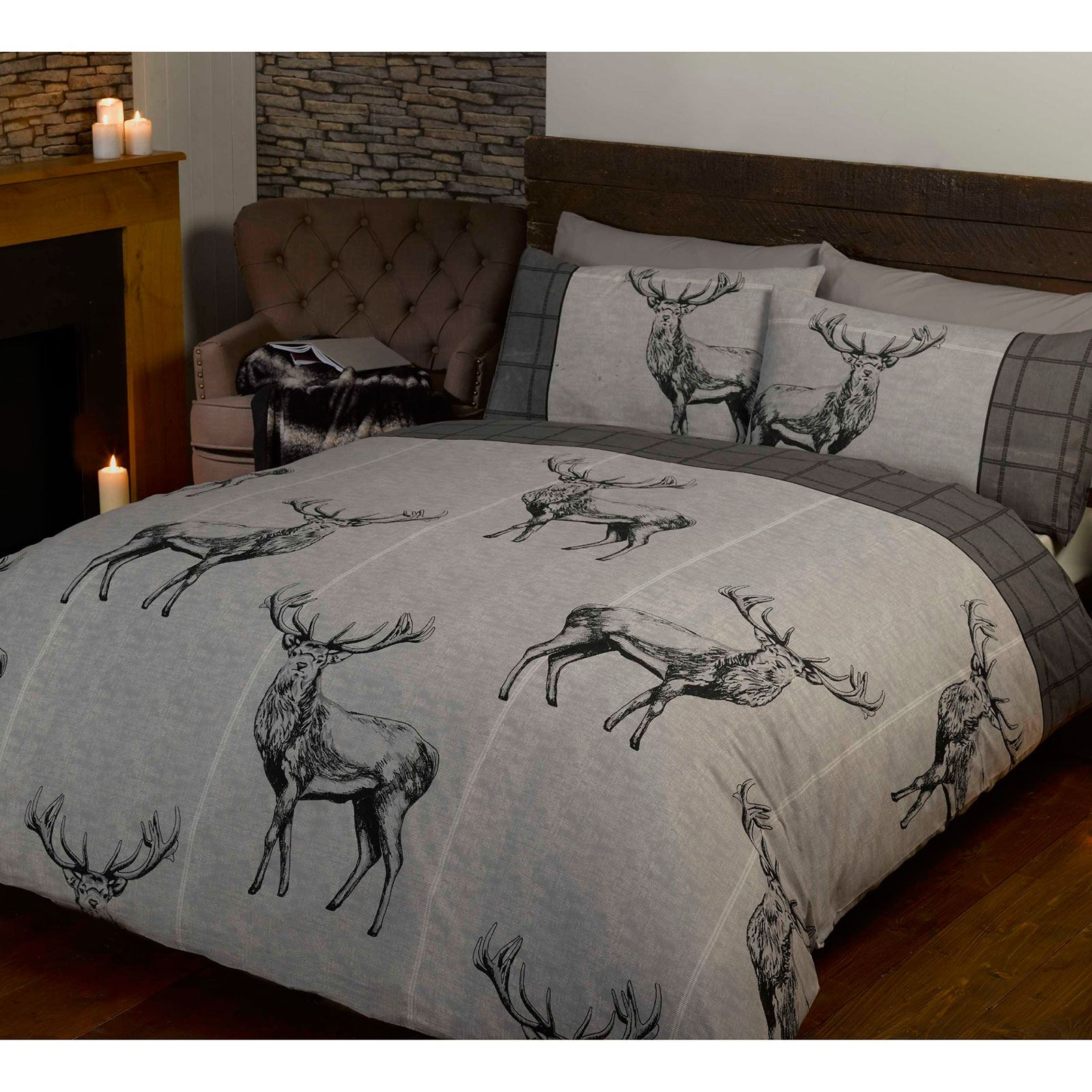 Charcoal Grey Bedding Highland Stag Charcoal Grey Double Duvet Cover