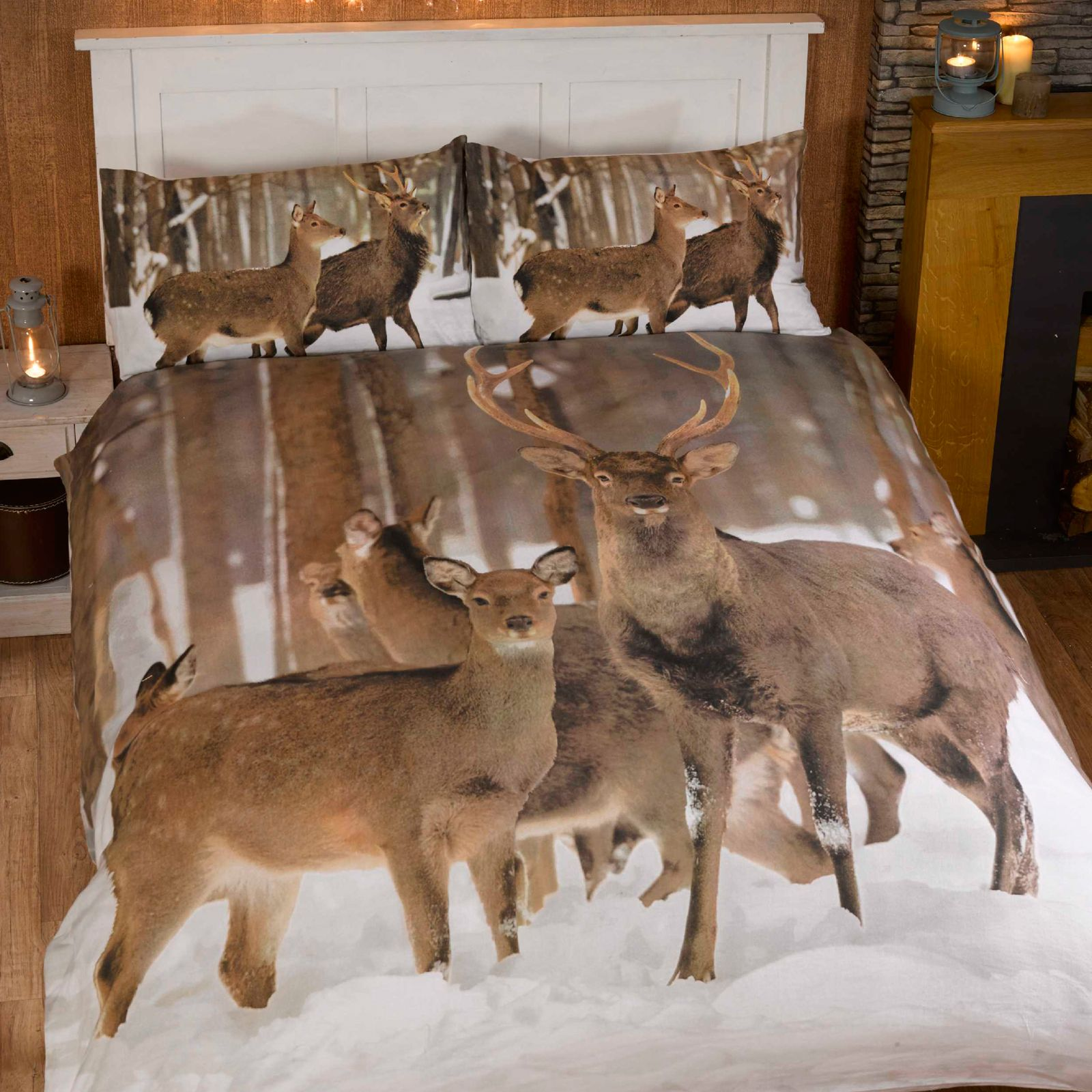 Bettwäsche 240x220 Flanell Winter Highland Stag Duvet Cover Sets Single And Double