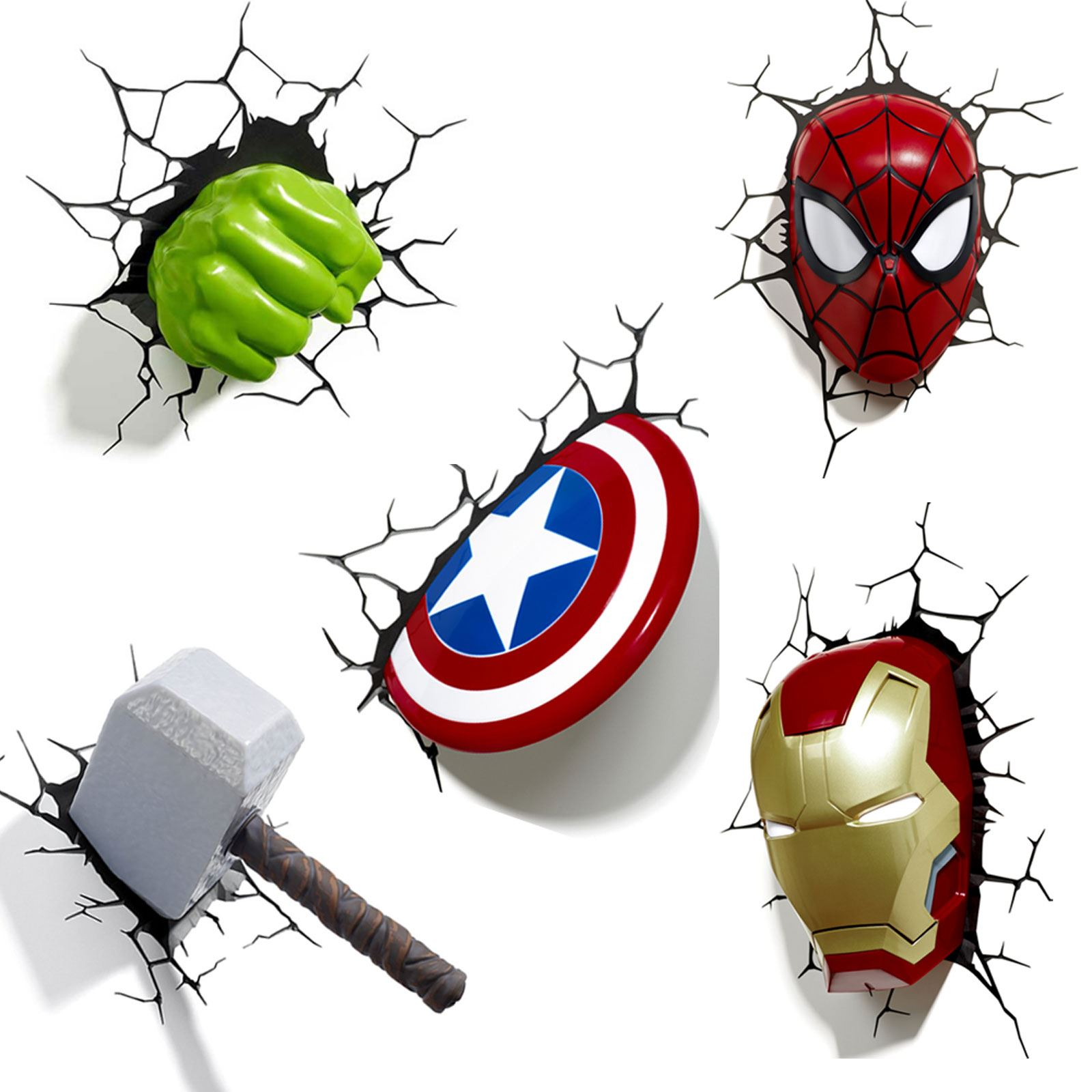 3d Wall Art Night Light Marvel Avengers 3d Wall Light Hulk Iron Man Captain