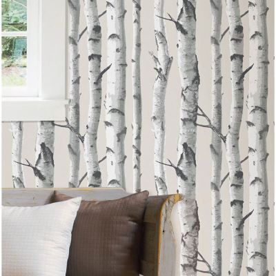 NUWALLPAPER BIRCH TREE PEEL & STICK WALLPAPER GREY NU1650 FINE DECOR NEW | eBay