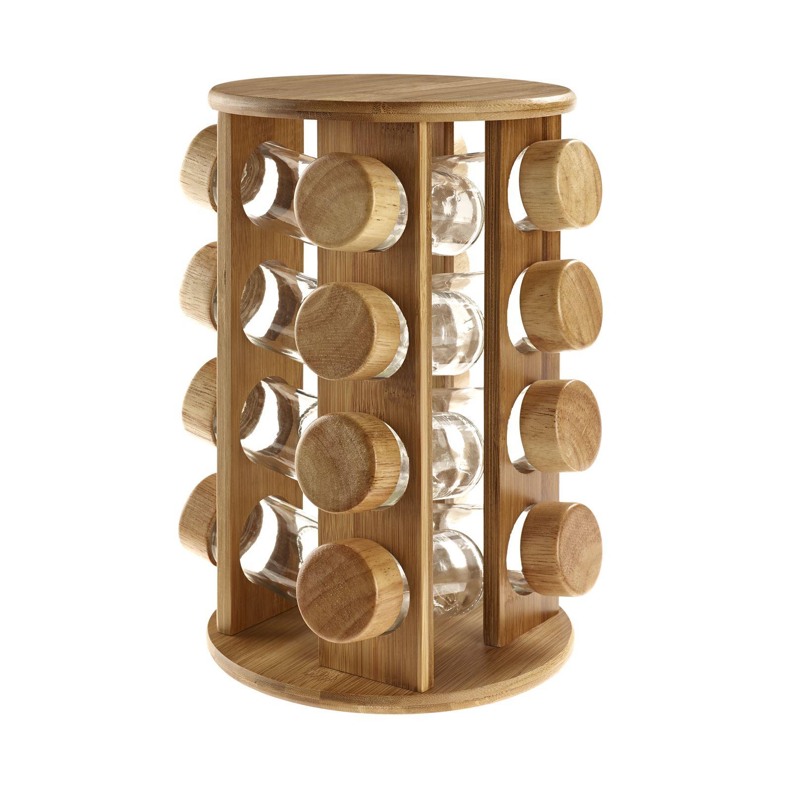 Wooden Rotating Revolving Bamboo Spice Rack Glass Jars