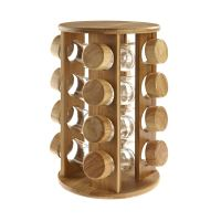 Wooden Rotating Revolving Bamboo Spice Rack Glass Jars