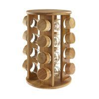 Wooden Rotating Revolving Bamboo Spice Rack Glass Jars ...