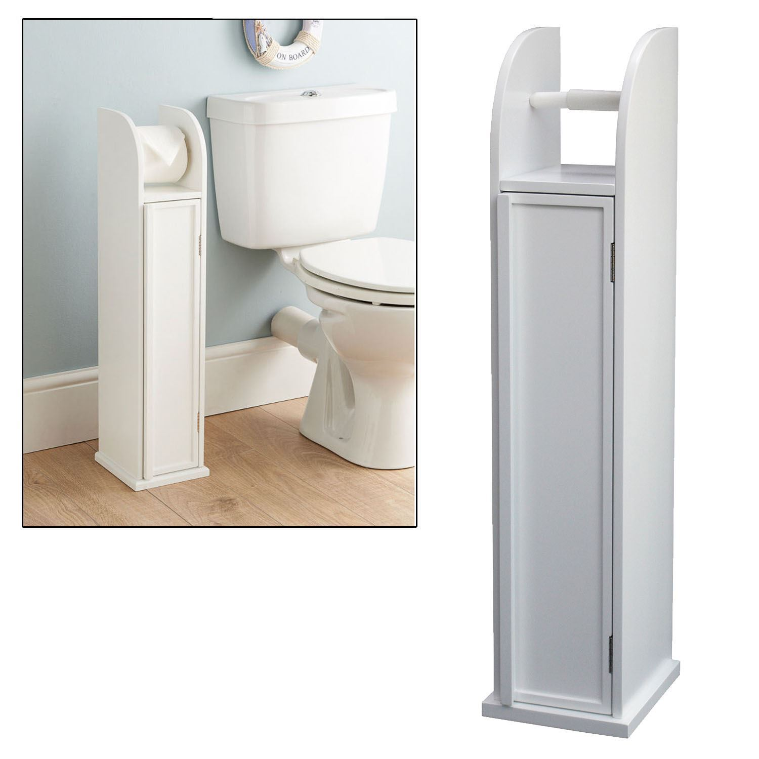 Plastic Toilet Roll Holder Free Standing White Storage Cabinet Toilet Roll Holder