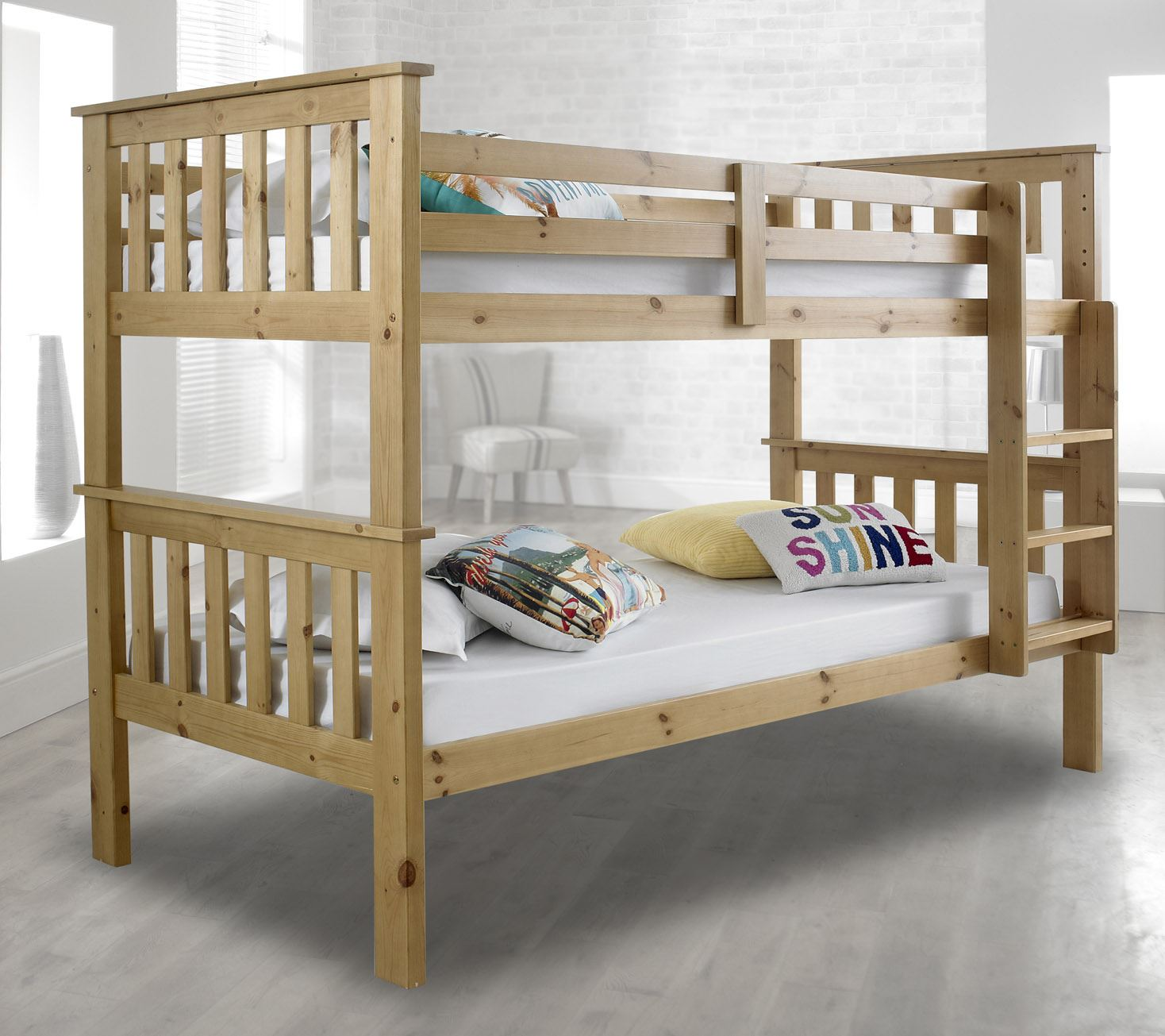 Bunk Bed Mattress Happy Beds Atlantis Wooden Bunk Bed 3ft Single Solid Pine