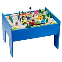 Wooden Train Table Set Track Play Toy Blue 60 Pieces ...