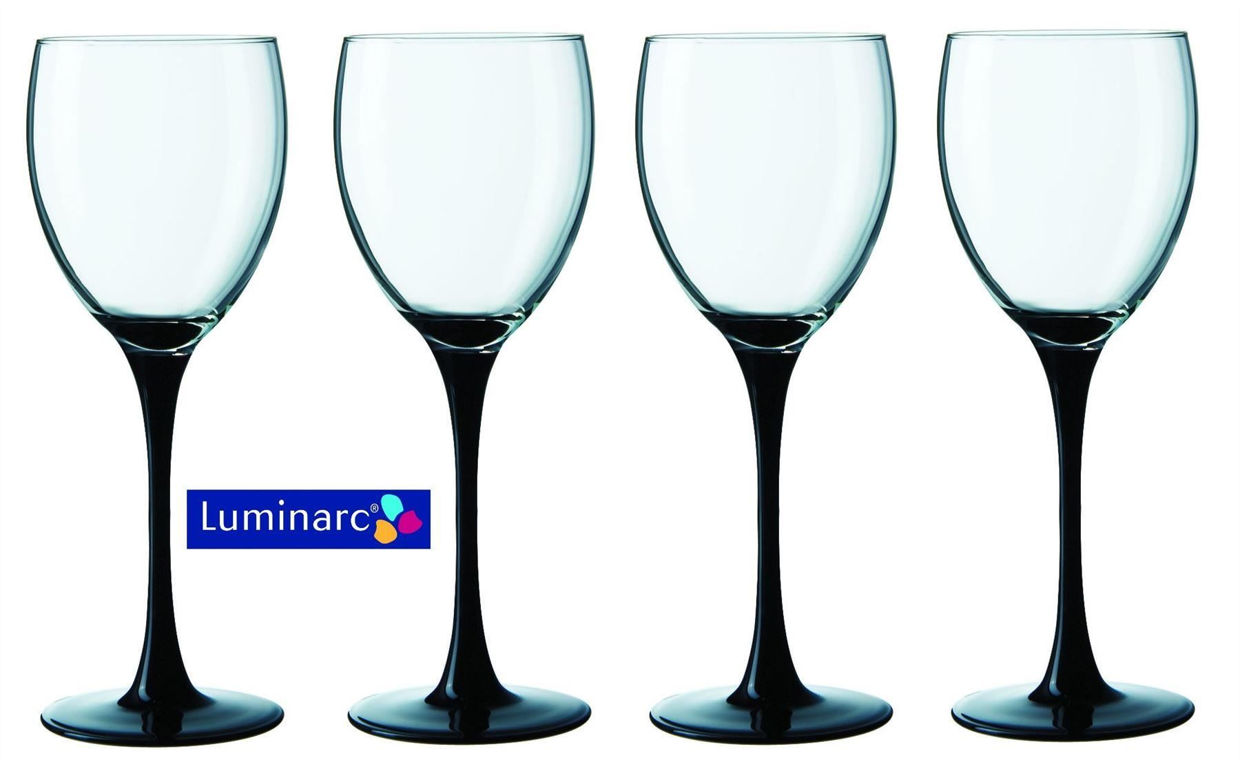 Wine Glasses With Black Stems Luminarc Domino Set Of 4 Wine Glasses With Black Stem