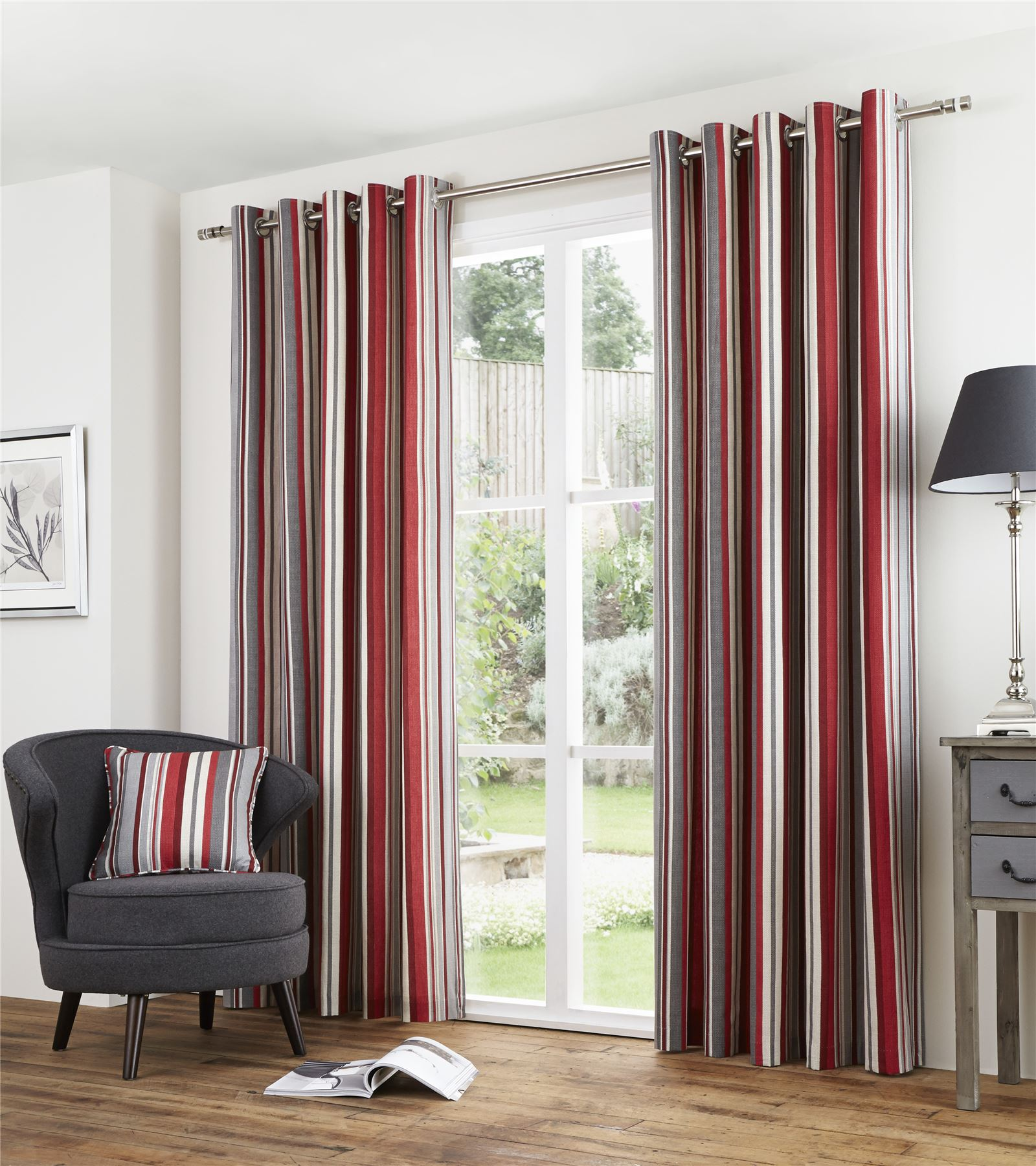 Rideaux à Anneaux Striped Red Grey Lined 100 Cotton Ring Top Curtains 7