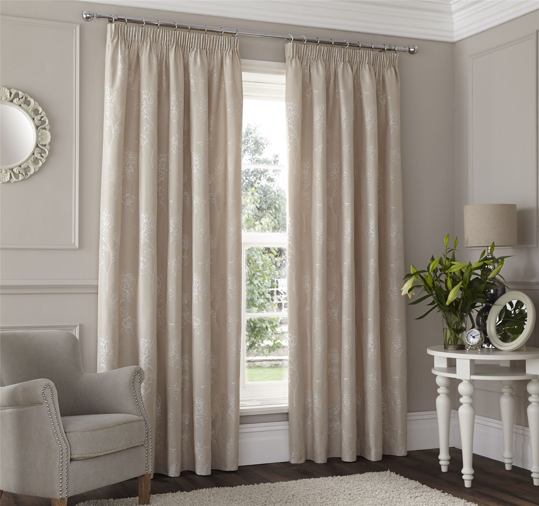 Diy Ripplefold Curtains Beige Embroidered Floral Lined Pencil Pleat Curtains