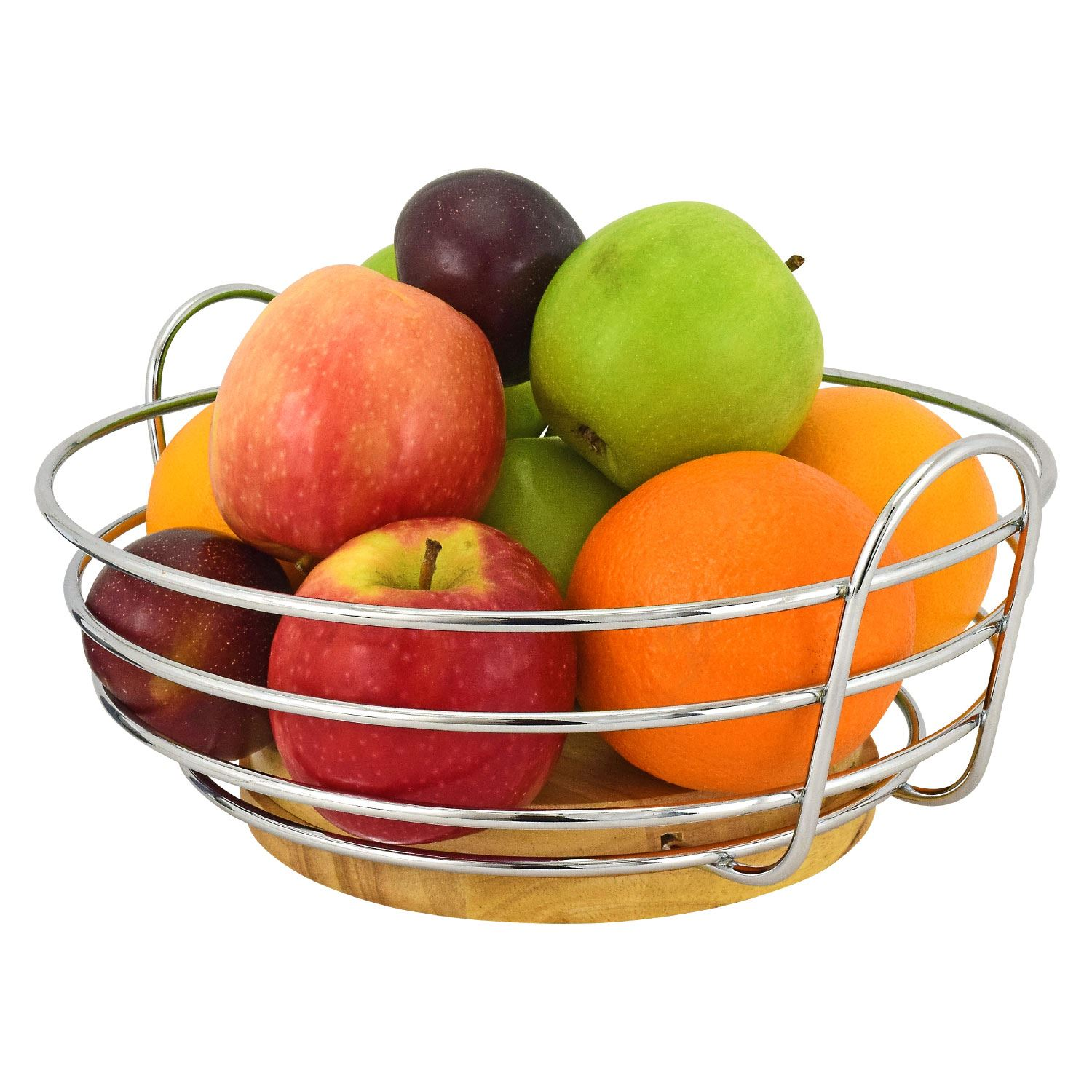 Chrome Decorative Bowl Decorative 27cm Round Chrome Wire Fruit Bowl Basket Holder