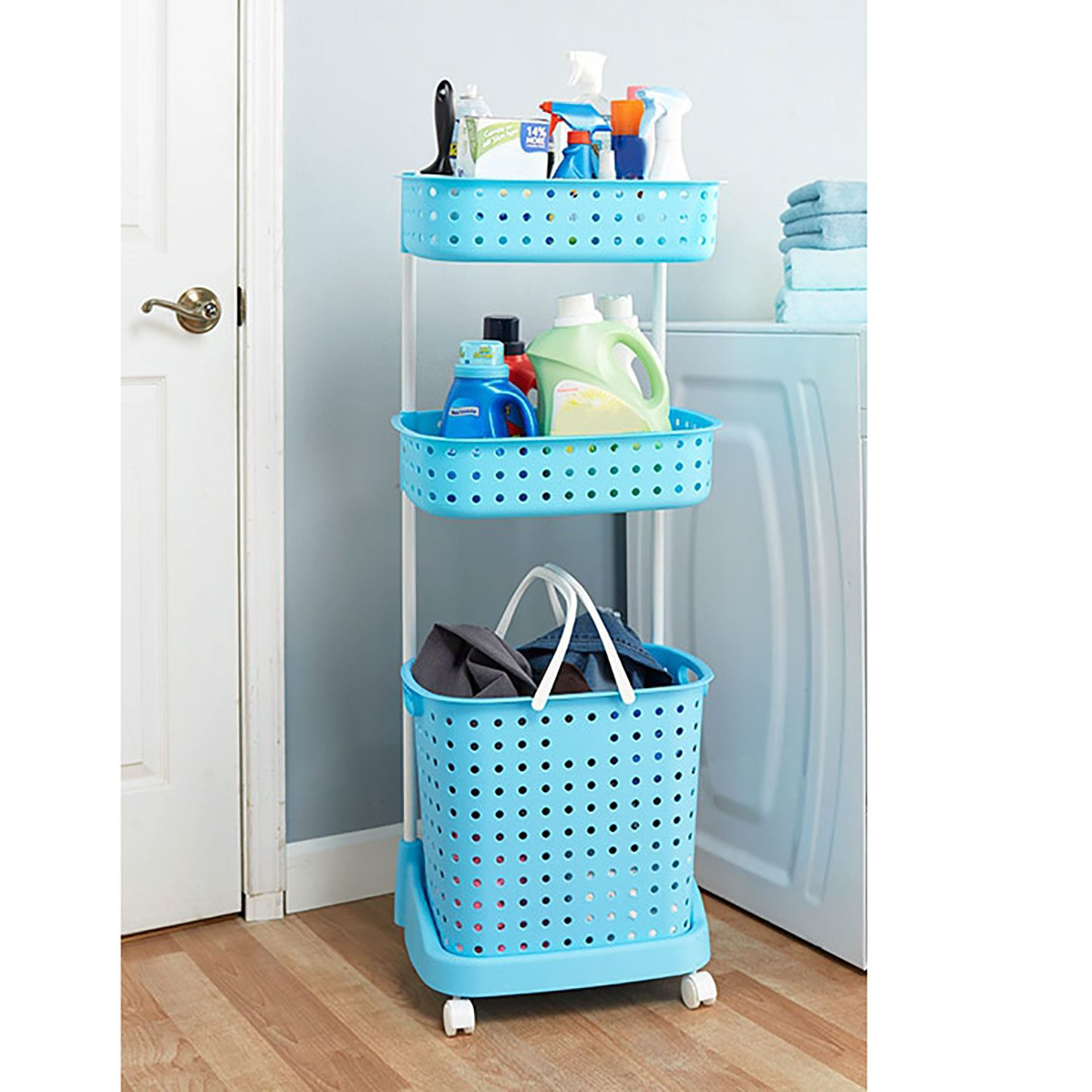 3 Basket Laundry Hamper Blue 3 Tier Rolling Laundry Storage Cart Basket Bin Sorter
