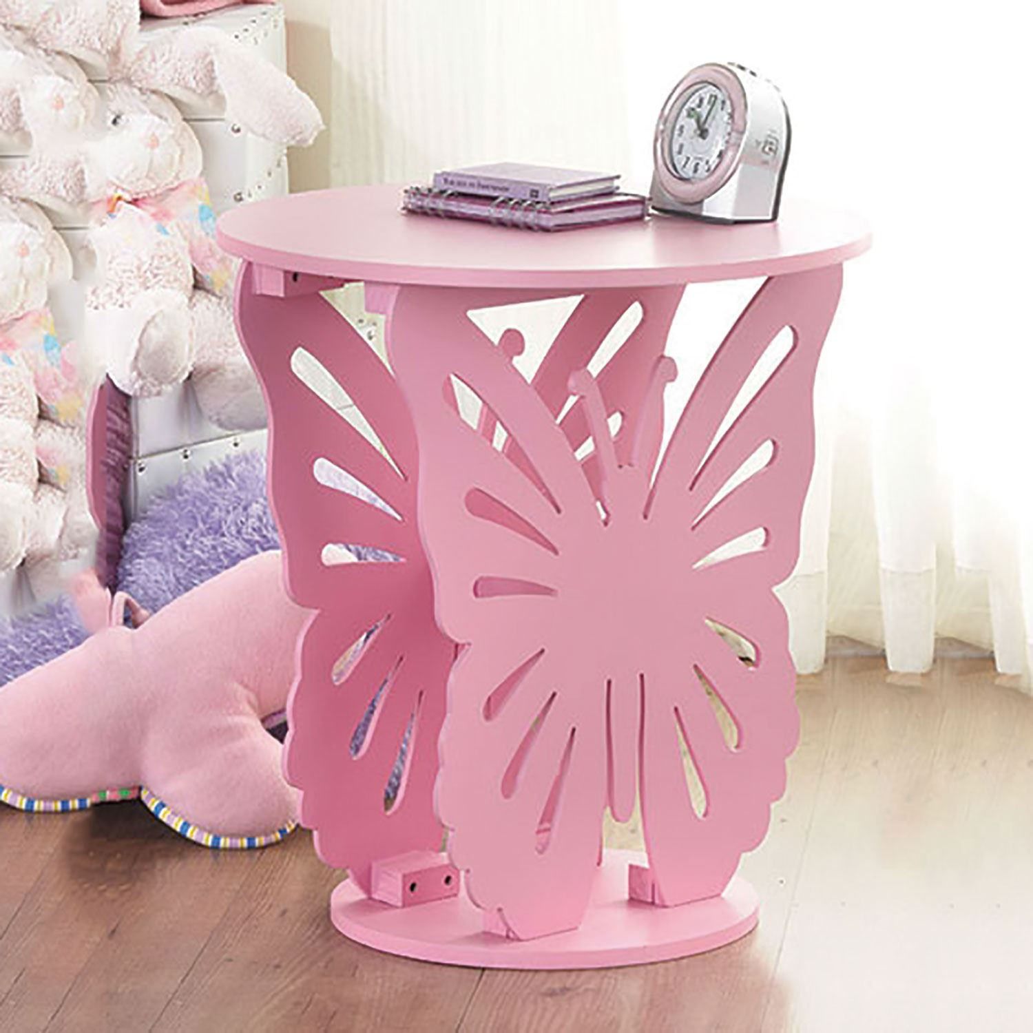 Toddler Bedside Table Children 39s Wooden Butterfly Table Round Side End Lamp