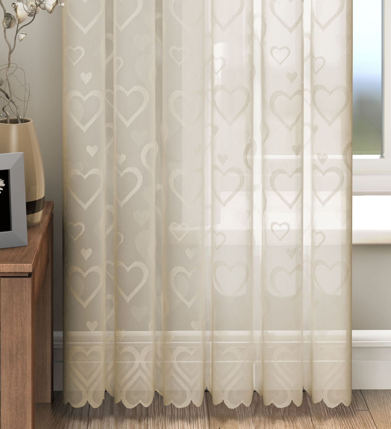 White Sheer Door Panel Curtains Love Hearts Lace Slot Top Sheer Voile Rod Pocket Window