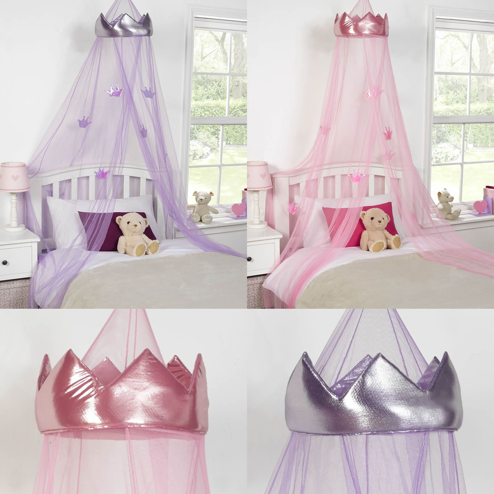 Purple Mattress Australia Kids Childrens Girls Princess Crown Bed Canopy Insect