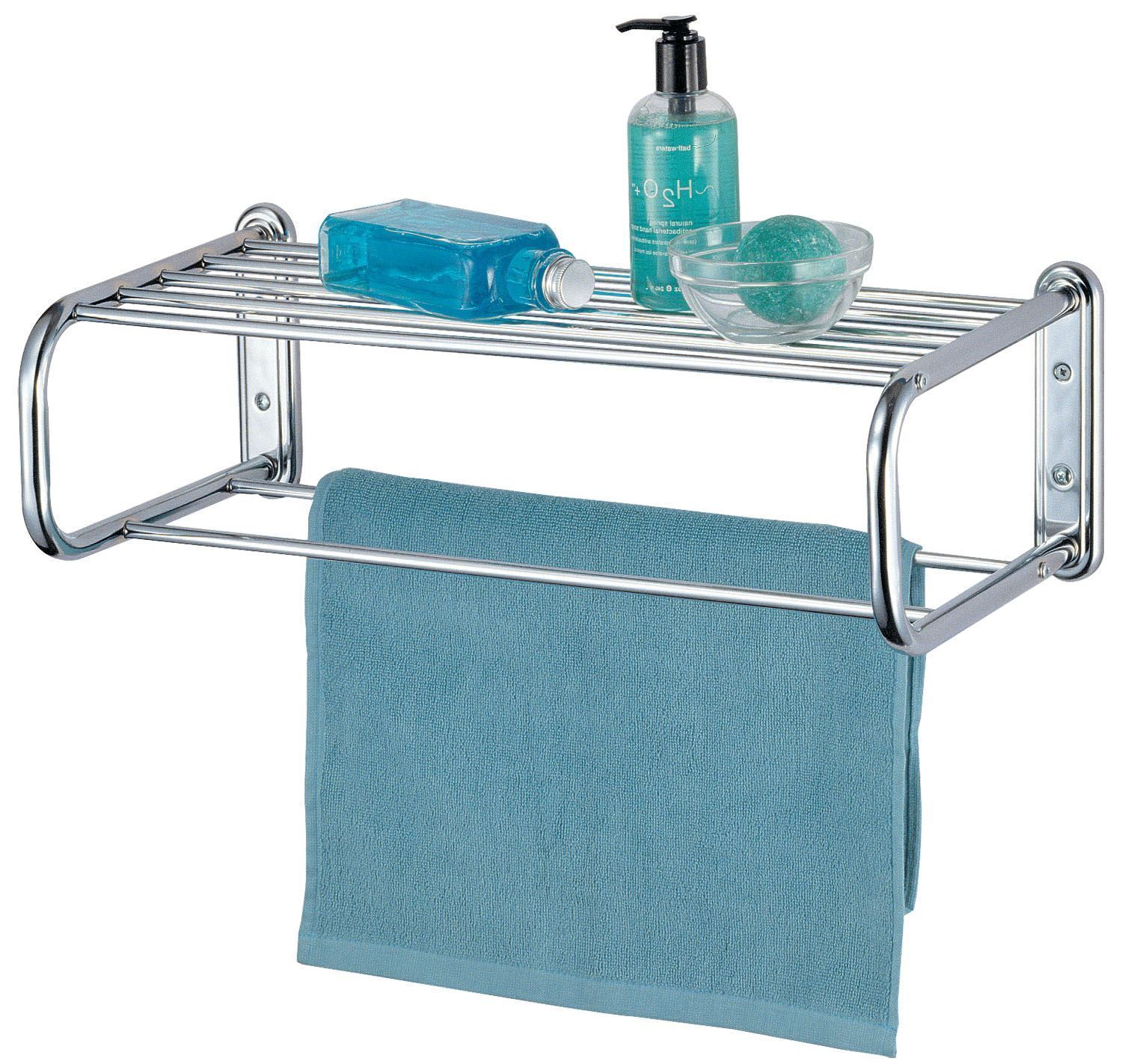 Chrome Towel Rack With Shelf - Lovequilts