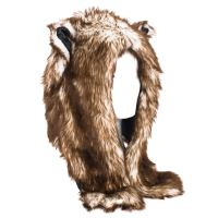 Faux Fur WoUnisex Animal Hat with attached Scarf and ...