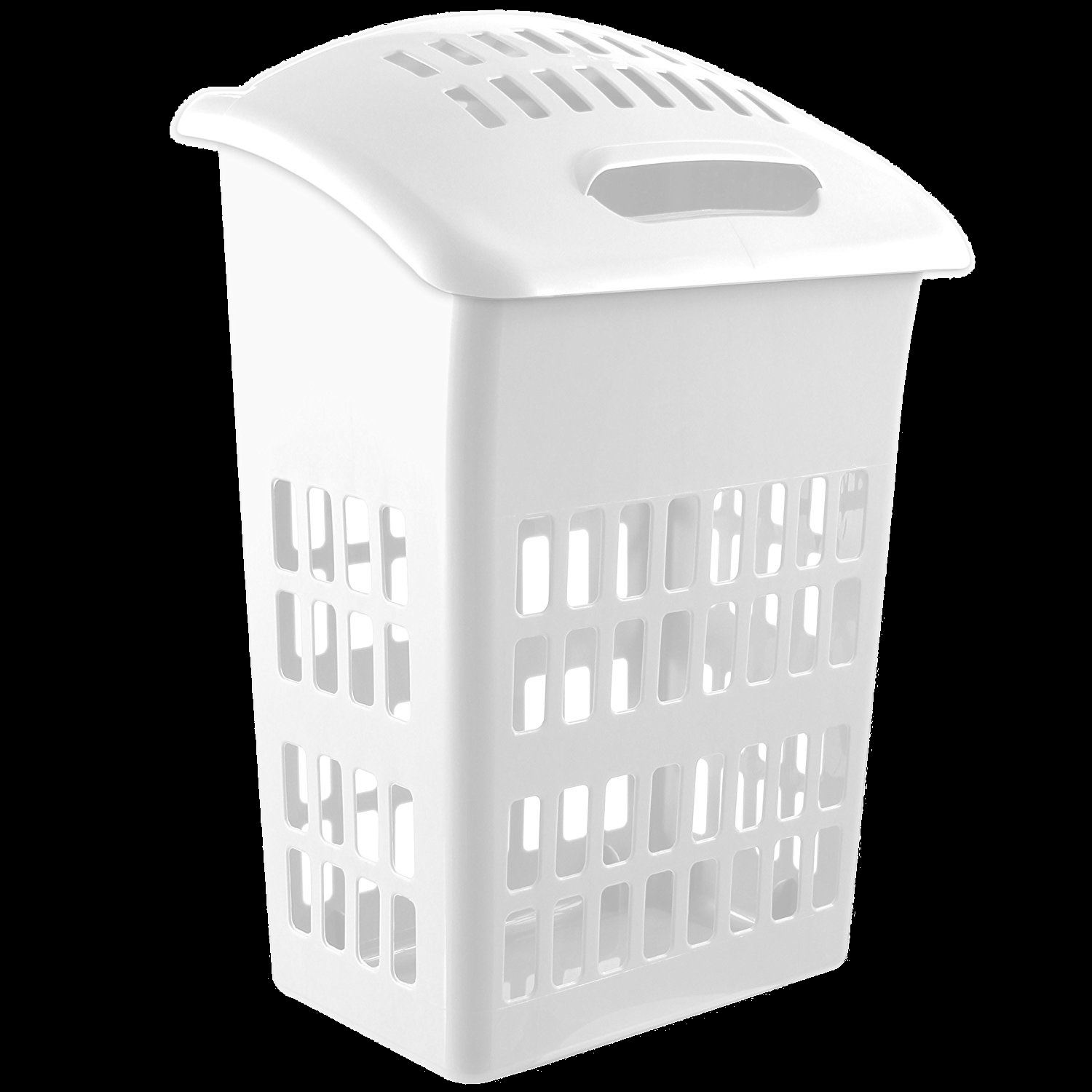 White Laundry Hamper With Lid Large 60 Litre Laundry Hamper Basket Cloth Washing Storage