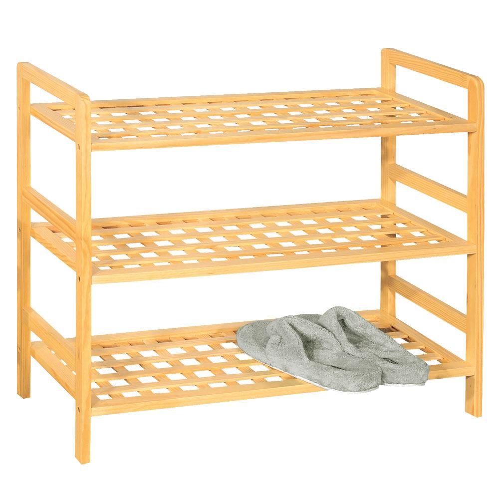 Shoe Rack 2 3 4 Tier Criss Cross Shelf Natural Wood