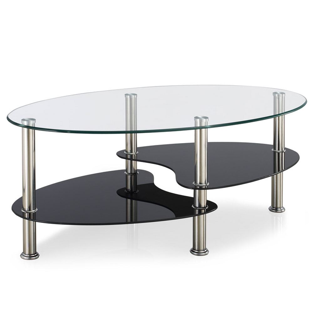 Couchtisch Oval Glas Cara Coffee Table Black Clear Frosted Oval Shelves Glass