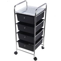 4 Drawer Trolley Mobile Office Salon Storage Cart Wheels ...