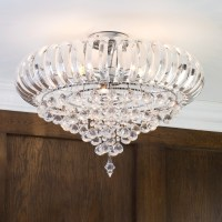 3 Light Semi Flush Crystal Effect Droplets Ceiling Light
