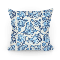 Floral Penis Pattern Blue - Pillows - HUMAN