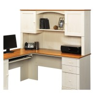 Shop Sauder Harbor View Antiqued White L-Shaped Desk at ...