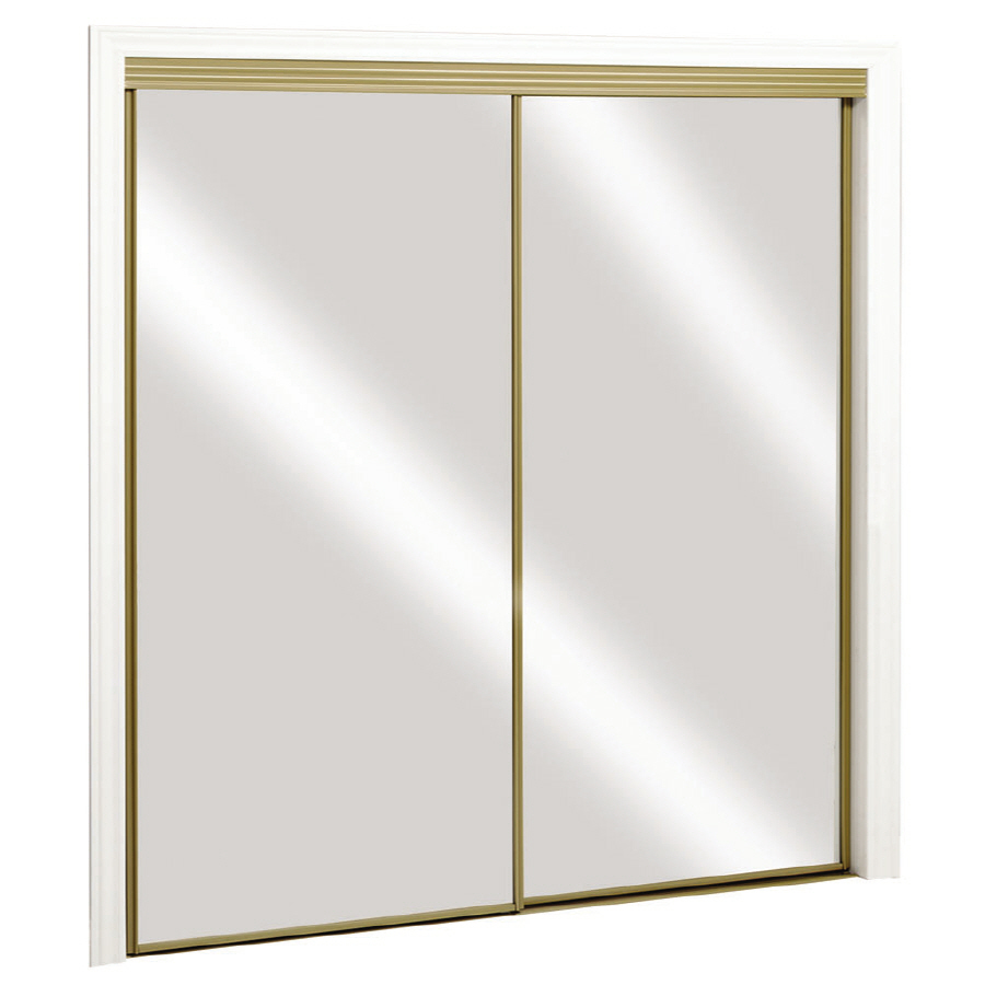 Shop ReliaBilt Satin Gold Mirrored Sliding Door (Common