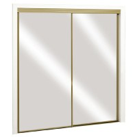 Shop ReliaBilt Satin Gold Mirrored Sliding Door (Common ...